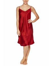 Simply Silk Red Nightie with Lace Motif