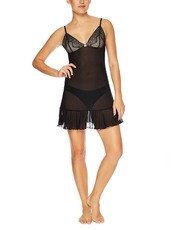 Bassoni Black Lace and Mesh Chemise